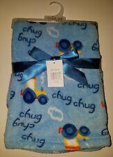 NEW Cutie Pie Blue Chug Chug Tractor Fleece Blanket Lovey Farm Baby Gift Boy