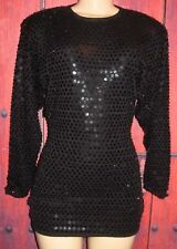 WOMEN'S GORGEOUS SEQUINED BLACK TOP PARTY BLOUSE 100% WOOL SIZE S