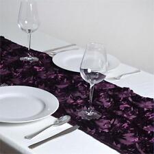 "10 Eggplant Rosette Rose Satin Table Runners 12""x108"" Ribbon Wedding Event"