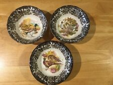 "3 x VINTAGE ROYAL WORCESTER PALISSY  CHINA  ""GAME SERIES""   CEREAL / SOUP BOWLS"