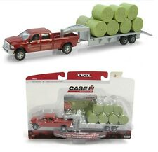 1:64 ERTL Red Dodge Ram 2500 Pickup Truck 5th Wheel Flatbed Trailer & Bales