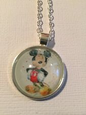 Vintage Pieces - Silver Necklace Glass Cameo - Watercolour Mickey Mouse