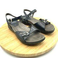 Dansko Womens Open Toe Buckle Strap Comfort Leather Black Sandals Size US 5