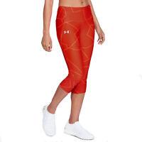 Under Armour UA HeatGear Ladies Printed Red Capri Fly Fast Gym Sports Leggings