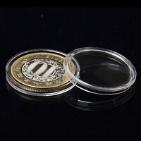 10X 27mm Applied Clear Round Cases Coin Storage Capsules Holder Plastic UR