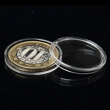 10X 27mm Applied Clear Round Cases Coin Storage Capsules Holder Plastic *