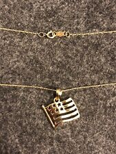 Vintage 10K Yellow Gold American Flag Charm Pendant Necklace On 10K Gold Chain