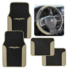 Two Tone Tan Black 4pc Car Auto Floor Mats & Sport Grip Steering Wheel Cover