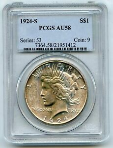 1924-S Silver Peace Dollar PCGS AU58 Certified - San Francisco Mint BR49