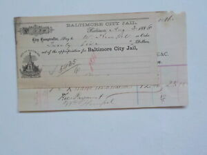 Antique Check 1886 Baltimore City Jail Paper Money Document Currency VTG Old NR