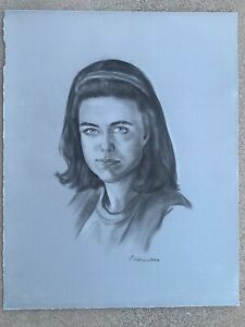 Vintage 1991 Sketch Woman Portrait Signed Flocked Felt Paper NON-smoking MCM