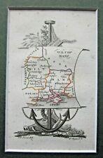 1823 Wiltshire Hampshire IOW Antique Map Perrot Miniature Exquisite Design