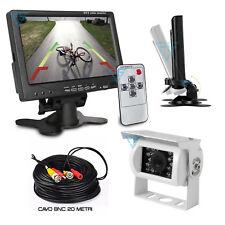 """Monitor 7"""" retromarcia telecamera posteriore AHD Bianca per auto camper caravan"""