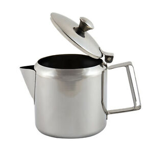 Stainless Steel Metal Teapot Tea Coffee Cafe Drink Kitchen Lid Pot Catering UK