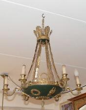 Empire Lampe, Louis Seize, Klassizismus, vergoldete Bronze, grüne Schale