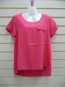 French Connection Women's Blouse Top Pink Size XL-16 Pocket Detail Dip Hem G041