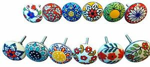 12 x Mix Vintage Look Flower Ceramic Knobs Door Handle Cabinet Drawer Cupboard