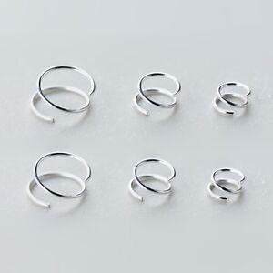 Fine Silver 999 Spiral Wire Twirl Ring Hoop Faux Double Piercing Earrings