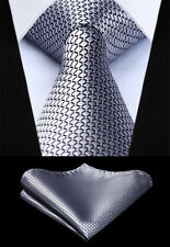 "Woven Men Tie Gray Check & Plaid 3.4"" Silk Tie Necktie Handkerchief Set#TC614A8S"