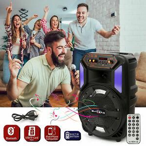 "1000W 8"" Wireless Portable Party Bluetooth Speaker FM Stereo Heavy Bass Sound UK"