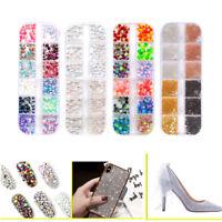 12 Grid/Box Gorgeous Glitter Pearl Rhinestones Sequins Jewelry Nail Art Manicure