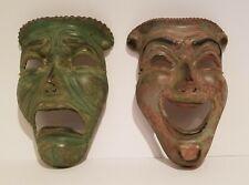 "Pair Brass Masks Wall Decor Plaques 7.25"" x 5.625"""