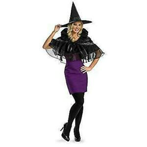 Womens Gothic Black Capelette Costume, Cape Shawl Halloween Witch Victorian