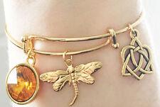 Outlander Gold Dragonfly Amber Celtic Knot Charm Bangle Bracelet Scottish Irish