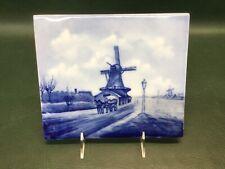 "Antique RXC Rosenthal Germany Delft Blue Tile Trivet Ceramic Dutch Windmill 8.5"""