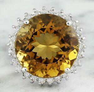18.41 Carat Natural Citrine 14K Solid White Gold Diamond Ring
