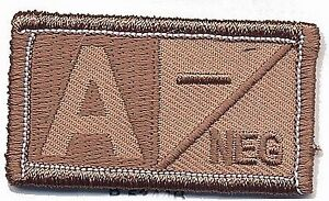 Brown Tan Blood Type A- Negative Patch VELCRO BRAND Hook Fastener Compatible