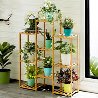 Multi-Tier Bamboo Plant Stand Planter Rack Flower Pots Holder Display US Stock