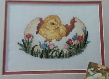 Cross Stitch PATTERN Easter Egg Chick with Flowers Plus Bonus Pattern