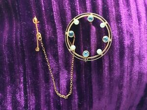 Victorian Edwardian Antique 15CT Gold, Pearl & Sapphire brooch