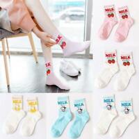 cute strawberry banana cow middle tube cotton breathable women skateboard socks