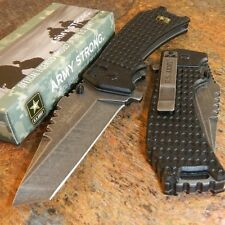 US ARMY Spring Assisted Open BLACK TANTO Blade Folding Pocket MILITARY Knife NEW