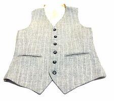 Vintage Wool Vest Gray Pinstripe Waist Coat 6 Buttons 2 Pockets Sz Small