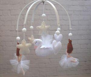 Ballerina Swan baby crib mobile White Felt mobile Ballet dancer mobile Ballet
