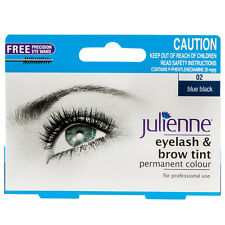 Julienne Eyelash & Brow Tint 02 Blue Black Permanent Eyebrows Colour Dye 15ml