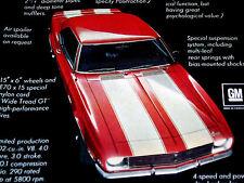 1968 CHEVY CAMARO Z28 ORIGINAL AD *SS/RS/350/302 v8 engine/door/hood/bumper/1967