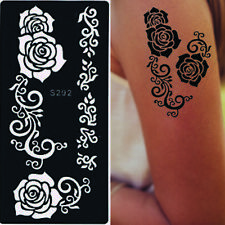 Rose Flowers Temporary Tattoo Stencil Template For Henna Ink Body Art Arms Hand