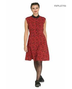 Hell Bunny Retro Punk Goth Mini Dress LEO Red Leopard All Sizes