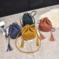 Women Mini Shoulder Bag Tassel Drawstring Bucket Crossbody Bag Phone Pouch