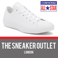 New Mens Converse Chuck Taylor OX White Leather Trainers UK Size 7 - 11 Sneakers