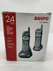 Sanyo Two Cordless Phones Set 2.4GHz Caller ID Extended Range CLT-246D(BK)