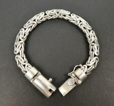 """Heavy 63G Sterling Silver 9mm Wide Flat Bali Byzantine Chain 7.5"""" Men Bracelet"""