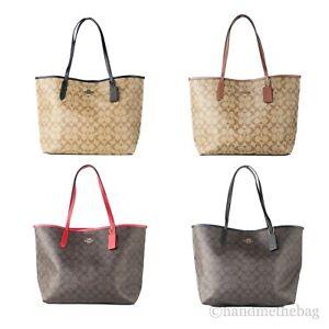 Coach (5696) Signature Coated Canvas Leather City Tote Shoulder Bag Handbag