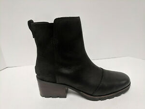 Sorel Cate Booties, Black Leather, Womens 9 M