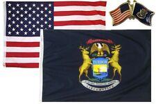 Wholesale Combo Usa & State of Michigan 3x5 3'x5' Flag & Friendship Lapel Pin