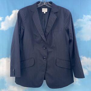 Armani Collezioni Womens Two Button Blazer, Stripe Navy Blue Size 12